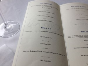 Carta Menú Hotel Escuela las Carolinas