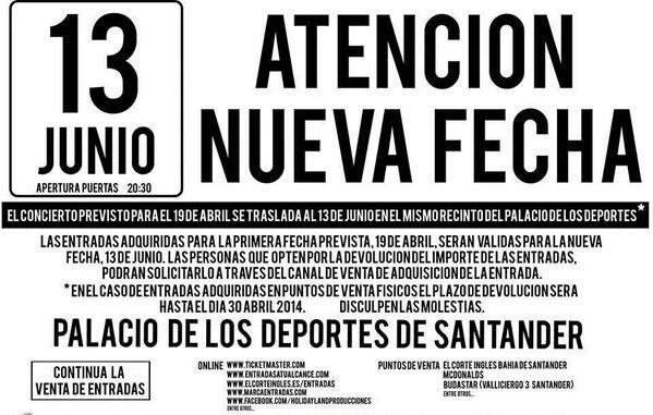 Cancelación Concierto Antonio Orozco Santander