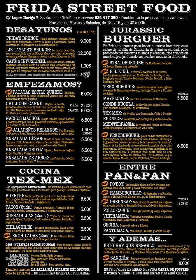 Frida Street Food Carta