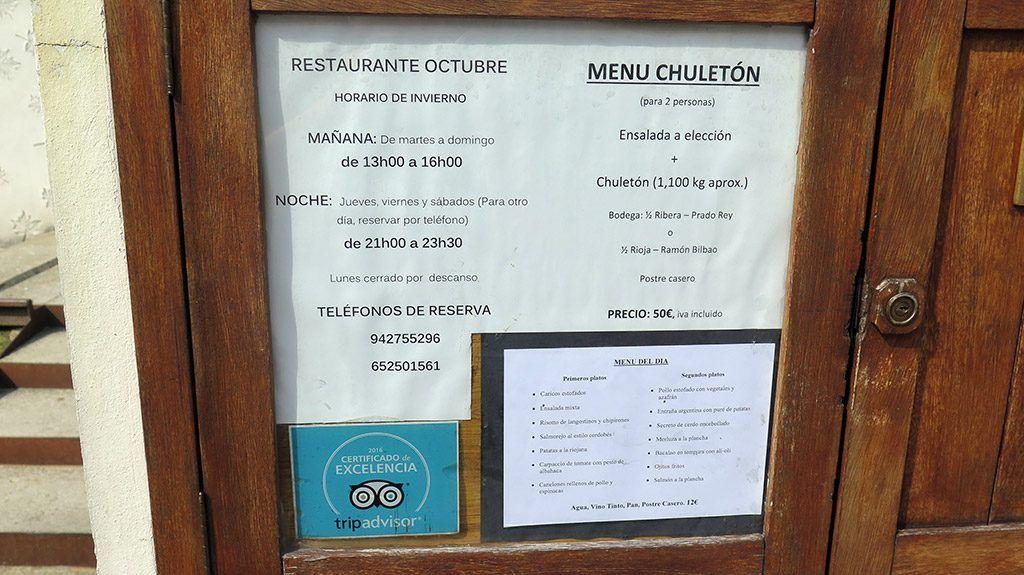 Menú del Día - Restaurante Octubre - Reinosa