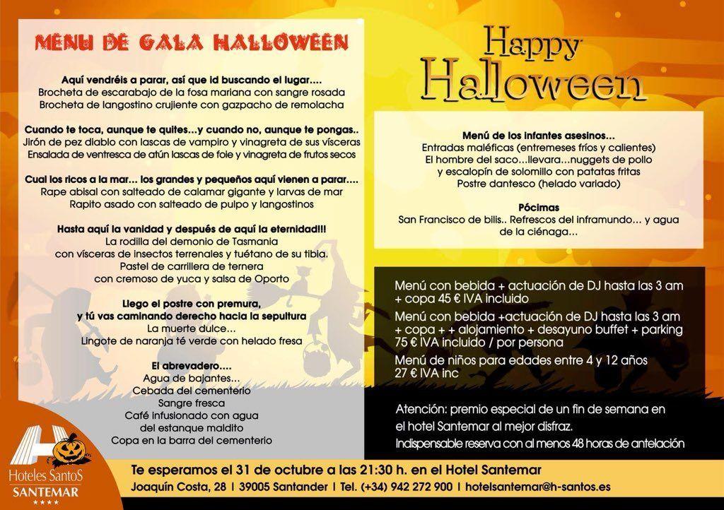 Menú Halloween Hotel Santemar 2018