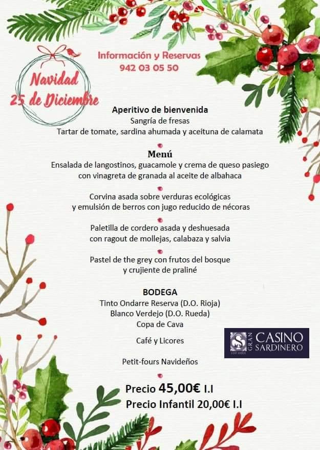 Menú de Navidad 2018 - Gran Casino Sardinero