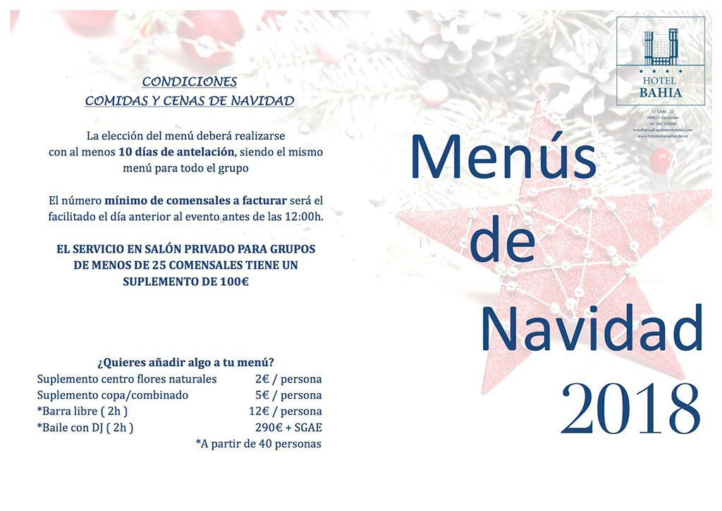 Cenas y Comidas de Navidad en Santander 2018 - Hotel Bahía Menús