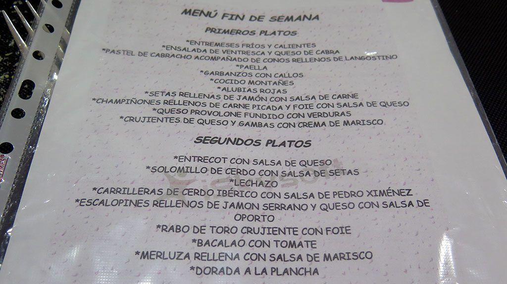 Menú del día - Mesón Dos Rios - Vargas