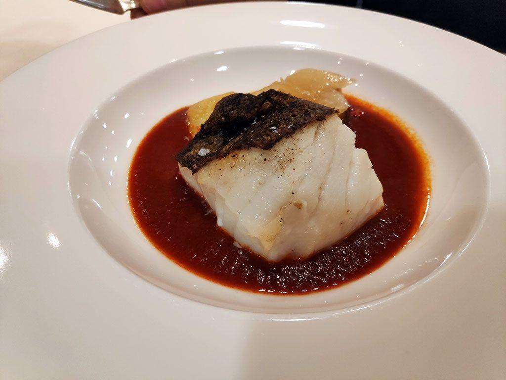 Lomo de bacalao confitado a la Vizcaína - Menú del día - Hotel Santemar