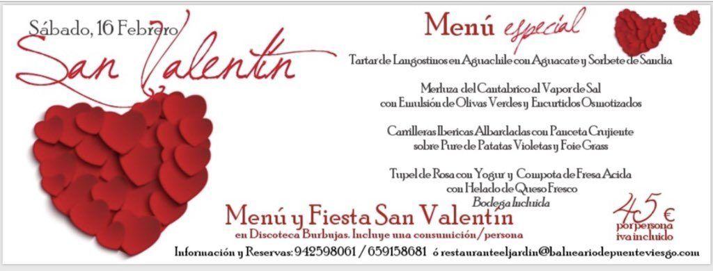Menú San Valentín - Balneario de Puente Viesgo