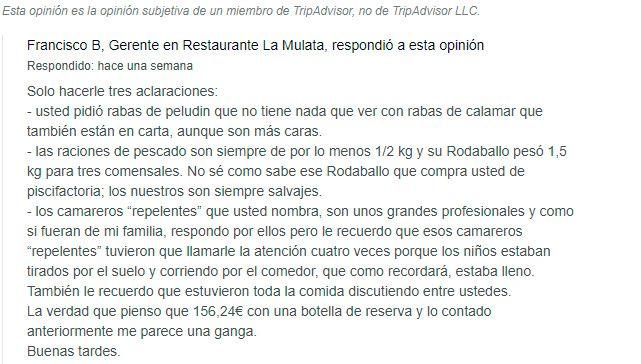 Contestación gerente - La Mulata Santander