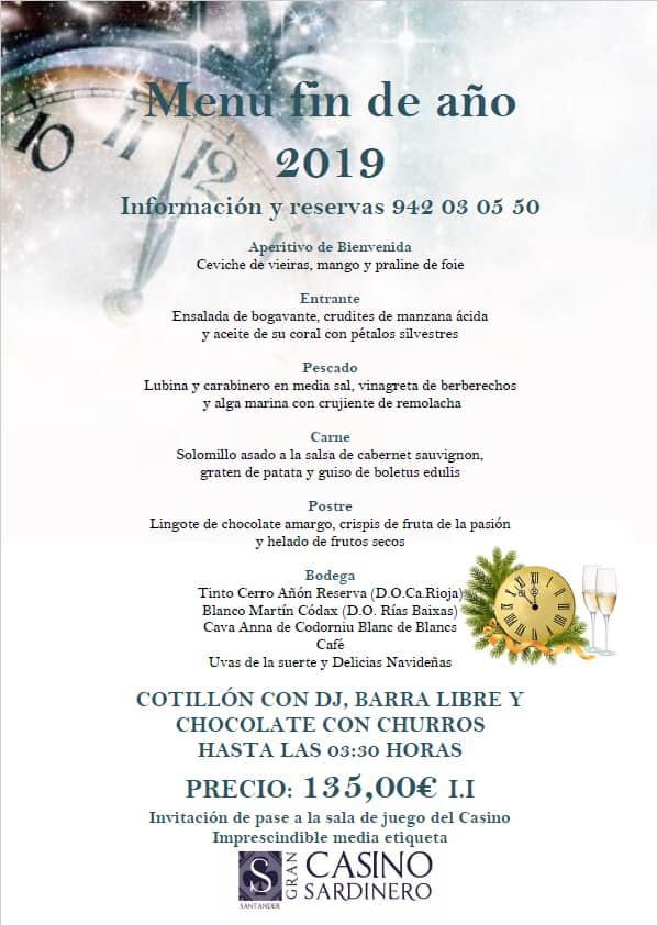 Menú Fin de Año 2019 en Santander - Gran  Casino
