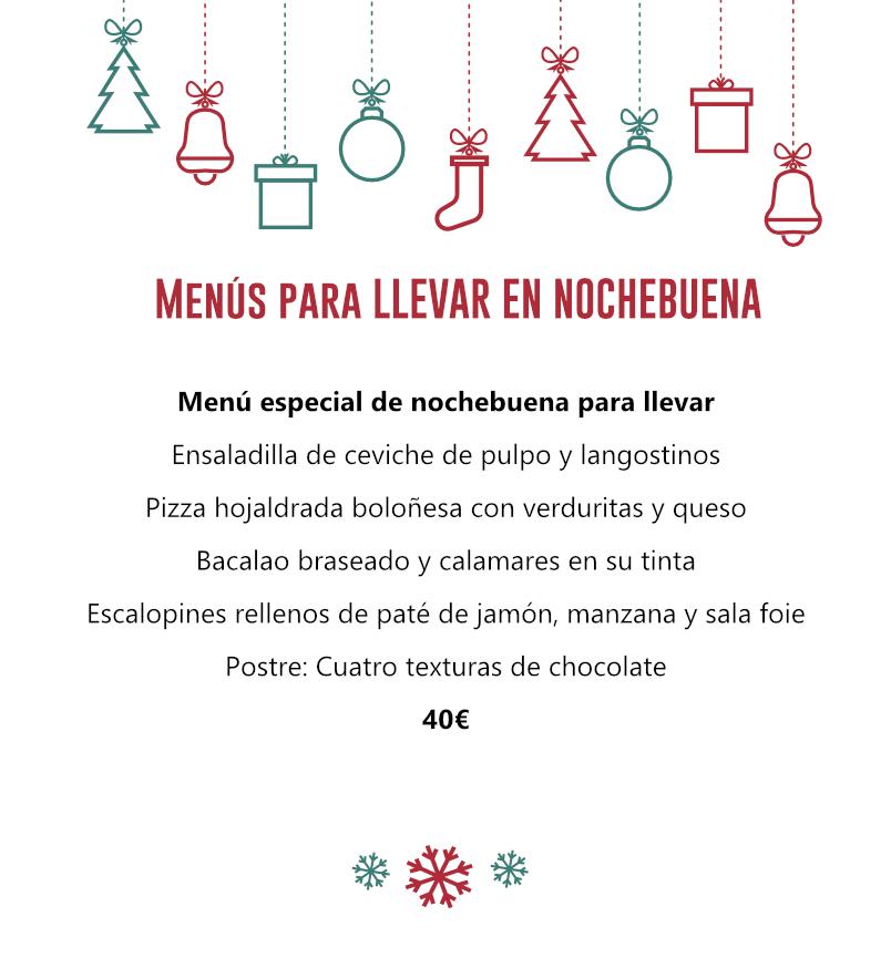 Menú de Nochebuena para llevar - El Palacio Restaurante