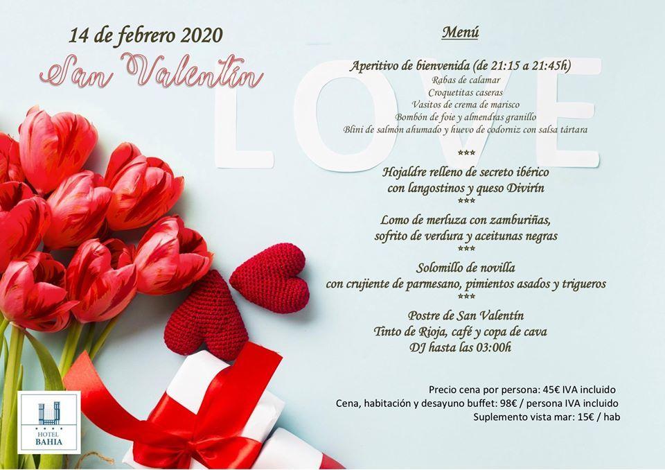 Menú San valentin 2020 en Santander - Hotel Bahía
