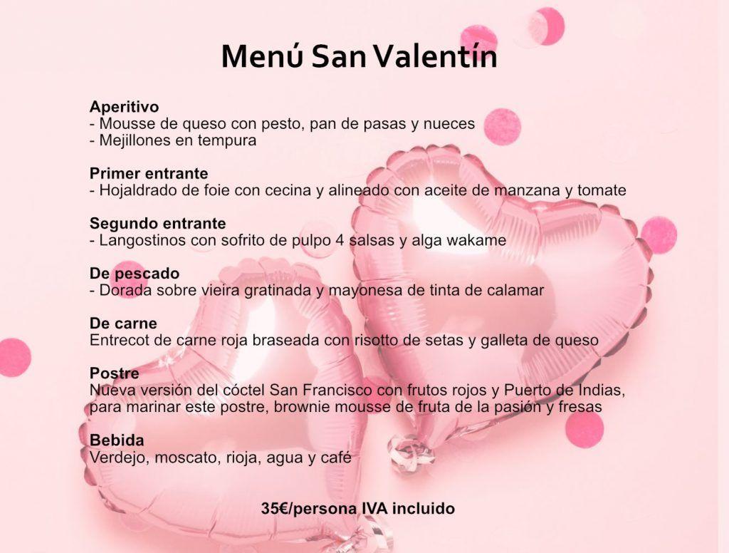 Menú San Valentín 2020 - Restaurante El Palacio